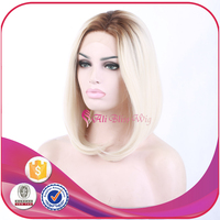 14 Inch High Quality Short Bob Ombre Brown Roots to Blonde Fashion Style 100% Synthetic Hair Lace Front Wig for White Women