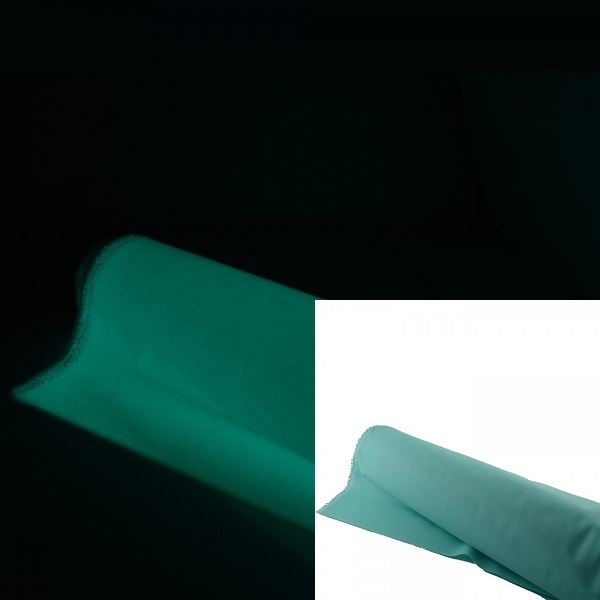 Light-blue luminescent glow in the dark fabric