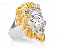 Fashion mens jewelry design wholesale silver and gold lion of judah ring