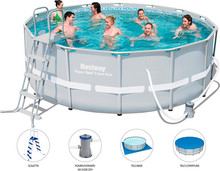 Bestway 56444 Ronnd Inflatable Above Ground Swimming Pool Metal Frame Pool Set