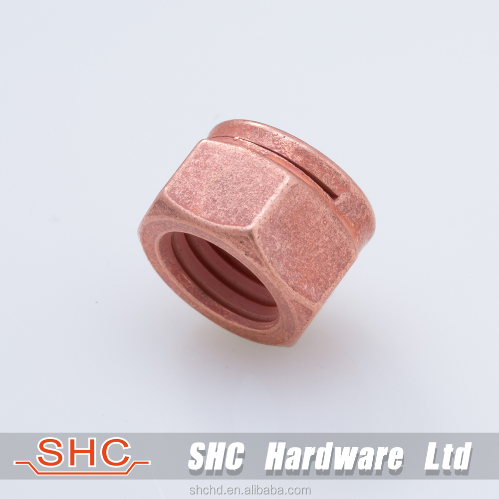 Special copper cutting self-locking slotted groove hex nuts