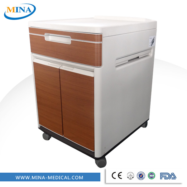 MINA-BS05 CE ISO plastic hospital bedside table with wheels