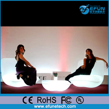 Wireless remote control battery operated rgb color changed curved led light up bar sofa
