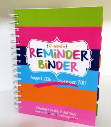 2016-2017 17-Month Reminder Binder Planner Calendar Weekly & Monthly Views, Lists, Contact Pages Event of stickers