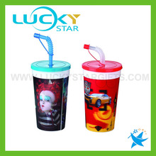 Magical plastic tumbler cup with lids and straw 3d plastic cup mug for kids