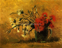 Vase with Red and White Carnations on a Yellow Background painting flowers by Van Gogh