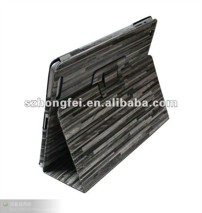 Folding PU Leather Case for iPad-Stone Gray