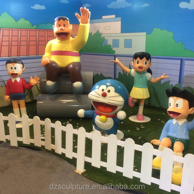 Lovely carving crafts life size cartoon doraemon series sculpture