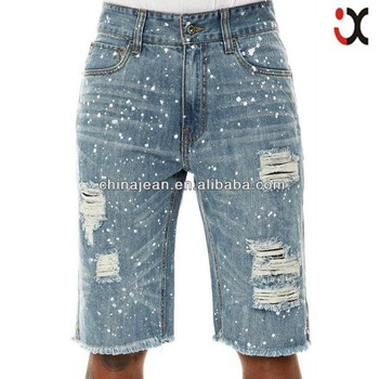 famous dot paint ripped short jeans for men (JX3237)