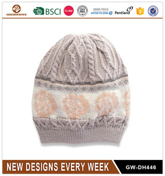 hot design fashion knitted beanie hat with followers 2017