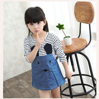 spring kids traditional stripe long sleeve shirt mouse jeans dresses