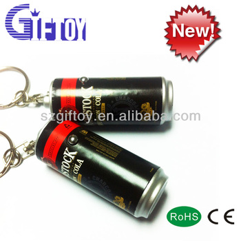 GT-383A cheap beer can shape logo LED led projector torch lights custom logo projector keychain