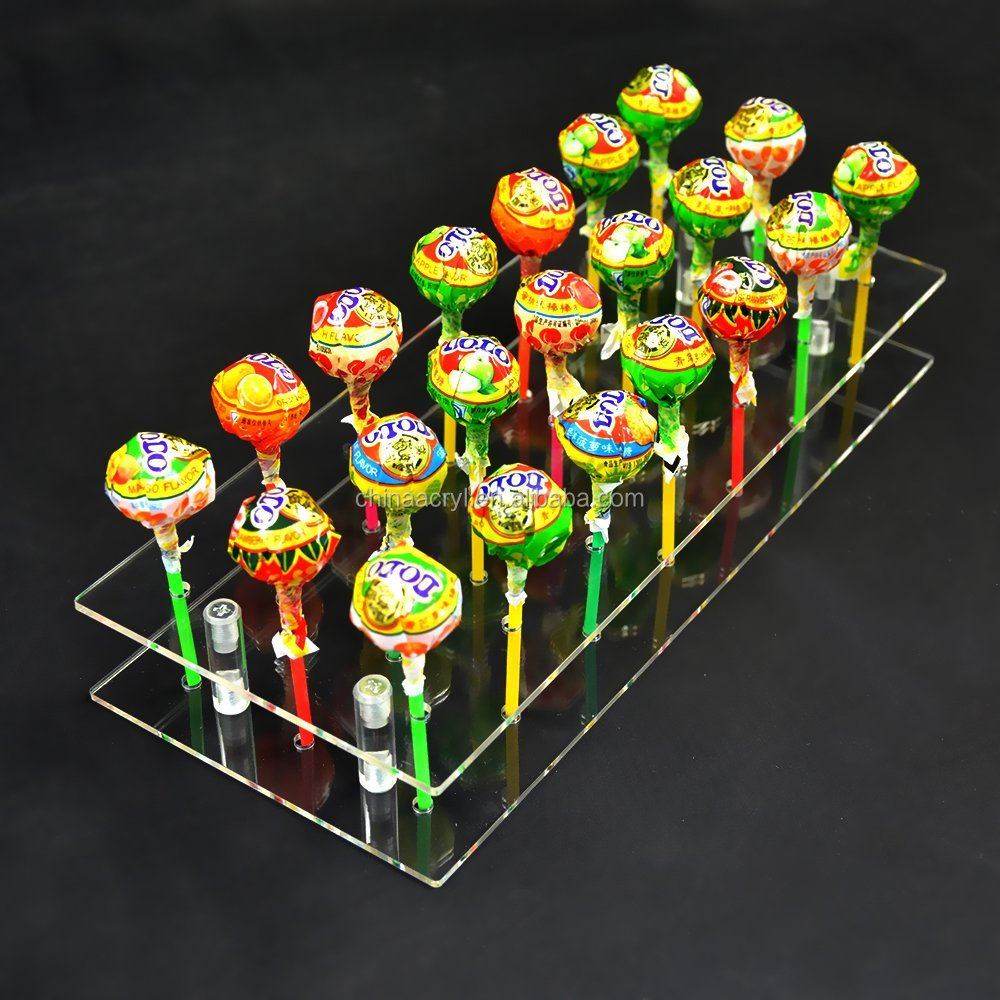 21 Hole Acrylic Cake Pop Lollipop Clear Pink Display Stand wholesale custom