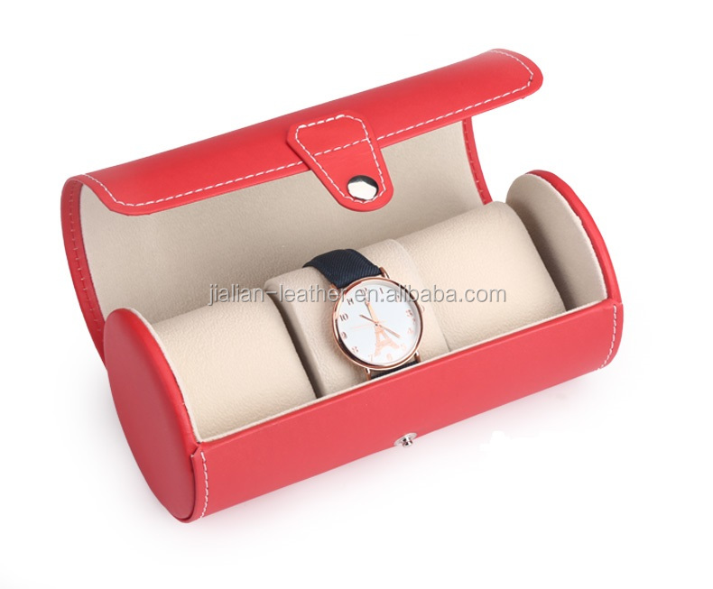 round shape color PU leather watch box wholesale watch case