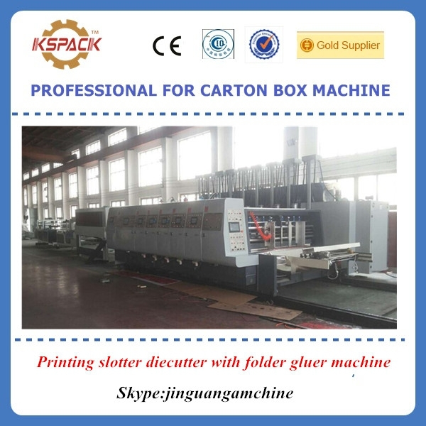2015 New equipment / Inline/ carton box automatic pritning slotter diecutter with folder gluer machine