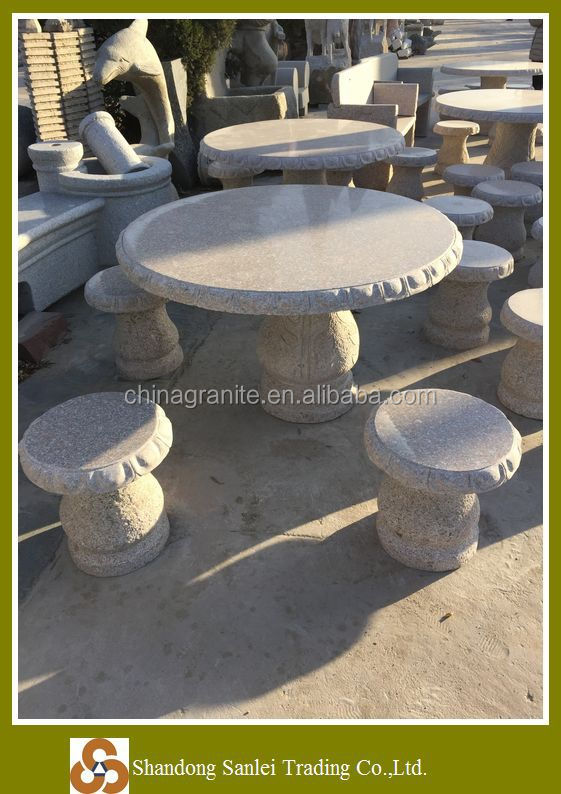 High quality hand carved natural granite stone table & stool