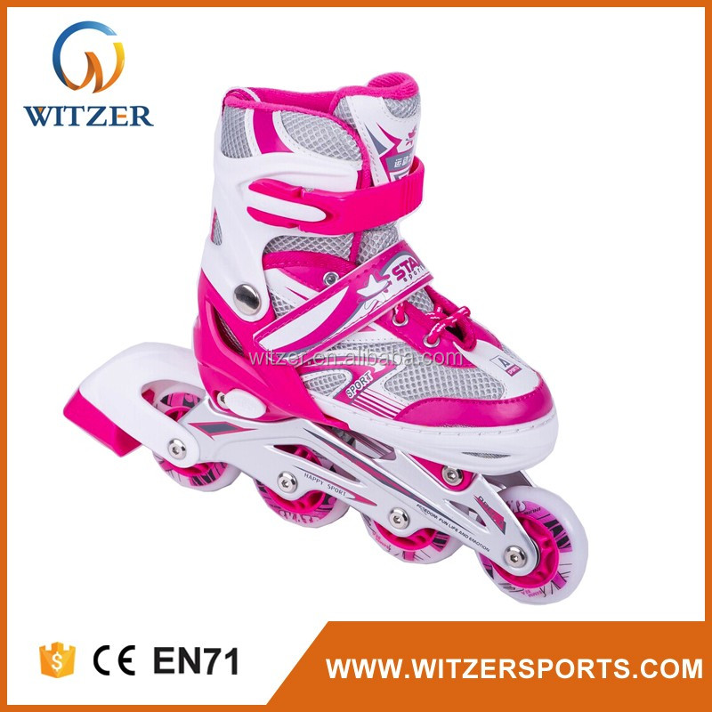 4 PVC wheels with light quad roller skate