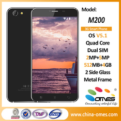 Latest Model Metal Frame+Double Side Glass OMES M200 Quad Core non camera android phone