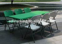 Wonderful Green Plastic Folding Tables in Outdoor, 8-Foot Fold-in-Half Table