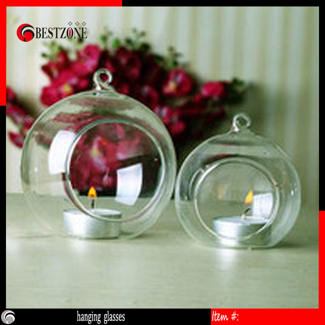12cm Hanging glasses vases Candleholder Flat Bottom Transparent hydroponic flower household decoration glass ball