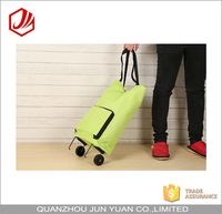 Shopping folding trolley bag with two wheels