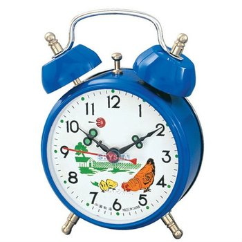 3 inches Mechanical twin bell alarm clock blue case