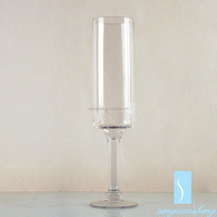 Factory Supply Recycle Green Cone Hand Blown Art Deco Tall Glass Vase for Wedding Centerpiece
