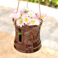 stock ceramic flower pot, porcelain hanging planter,creative glazed color flower pot