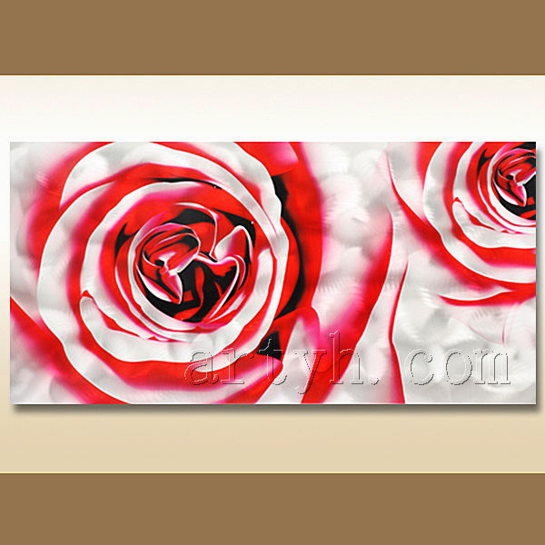 Wholesale modern handmade red rose flower metal craft painting