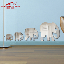 Factory newest fashion 4pk cartoon animal elephants decorative acrylic 3d diy adhesive mirror wall sticker kids home decoration