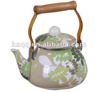 2012 NEW STYLE CAMOUFLAGE LEAF ENAMEL TEA KETTLE WITH WOODEN HANDLE-- HH-1.5