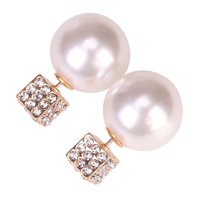 Square Diamond Pearl Imitation Earring Jewelry