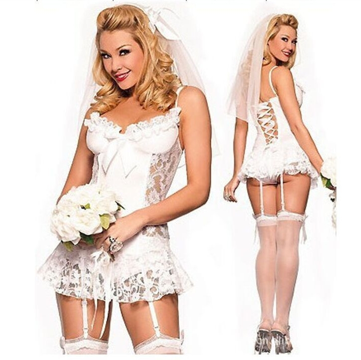 European American White Lace Bridal Wear Wedding Dress Mature women Sexy Lingerie Set Sexy Game Costume Cheap Babydoll Lingerie