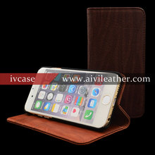 Leather Flip Cover Case For Smartphone ,For Wooden Iphone 6 Case Genuine Leather
