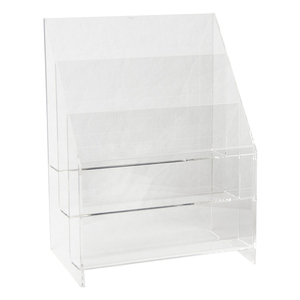 3 Tier Clear Acrylic Counter Standing Greeting Card Display Stand Brochure Holders Rack
