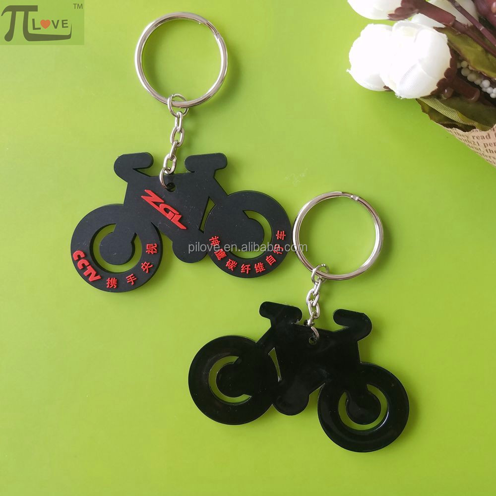 Factory direct sales bicycle shape 3D pvc key ring with low price