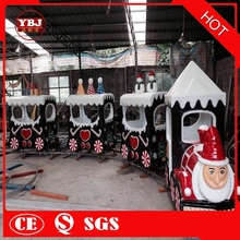 YBJ hot sale outdoor train square kids Santa Claus model happy christmas luxury styling track electric train