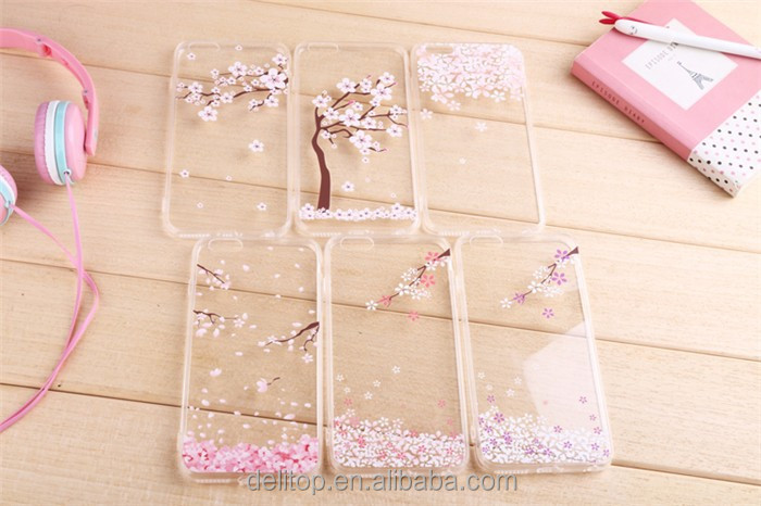 "Popular Ultra-thin TPU Cherry Series Blossom Sakura Clear Transparent Phone Back Case For Apple iPhone 5/6 4.7""/6 plus 5.5"""