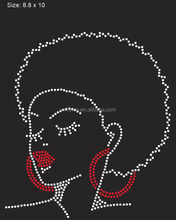 heat press rhinestone transfer hot fix customized logos ,iron on afro girl transfer motifs design for dresses