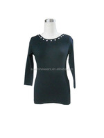 Ladies' eyelet neck T-shirts