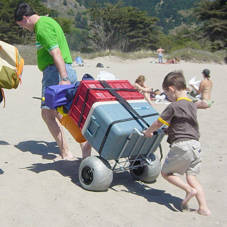folding beach cart with balloon wheel