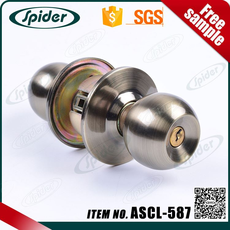 high quality furniture handles door handle lock cylindrical entry safe door lock, two sides knob lock
