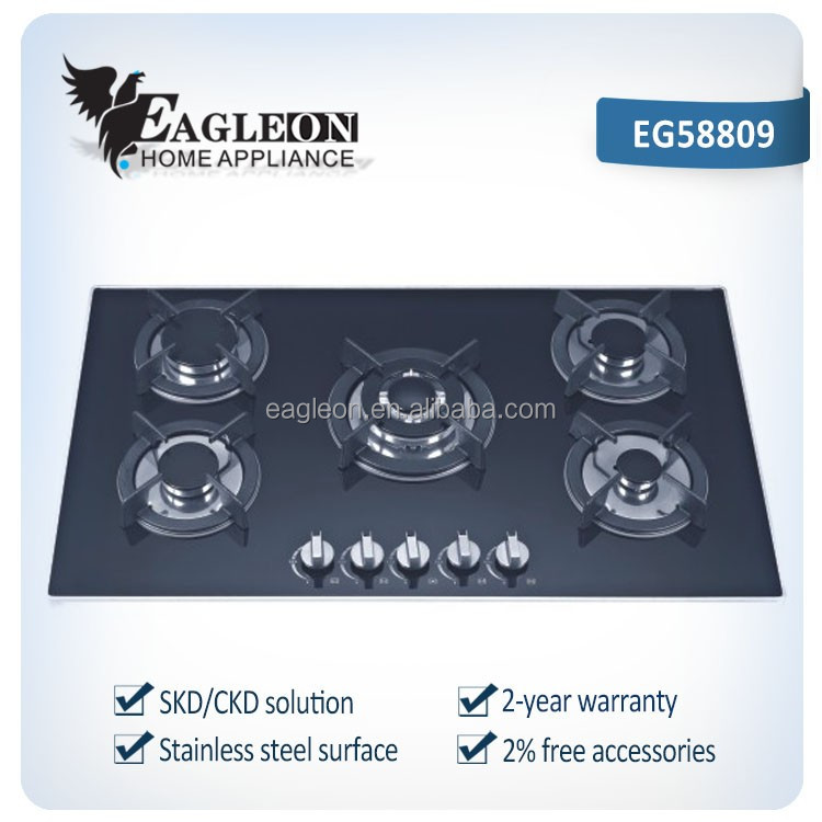 Promotional Cooktop for modern homes use 5 burner glass cooktop 10mm thickness