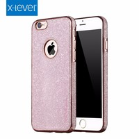 X-Level Factory Supply Newest Coming Fashion Electroplating TPU with Starry PU Mobile Phone Case For iPhone 6/6S