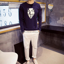 Charming Mens 100% Cotton Washed & Printed Customized Long Sleeve T-Shirt Men Wholesale Cheap In China
