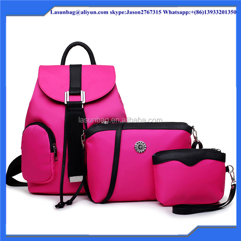 2016 Latest Fashion Pink Nylon Polular Girls Leisure Backpack Shopping Shoulder Bag Set