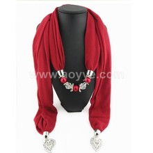 New arrival fashion alloy heart shape jewelry rose pendant scarf