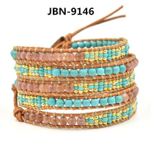 Fashion 2014 newest handmade fashion leather bracelet wholesale JBN-9146
