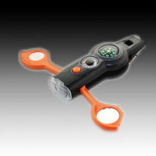 7 in 1 / 6 in 1 utility Multifunction LED flashlight Torch Whistle Mirror Compass Magnifier Thermometer Storage flashlight