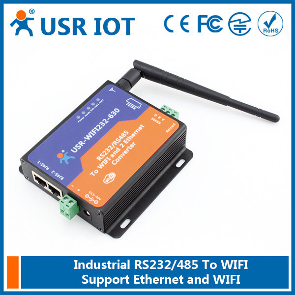USR-WIFI232-630 RS232 RS485 to Wifi Ethernet Converter,Wifi Serial Server with 2 RJ45 Support Transparent Transmission Mode